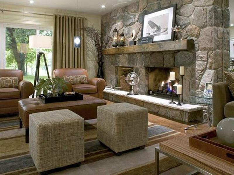 traditional living room with stacked stone fireplace - Stone Fireplace Design Ideas