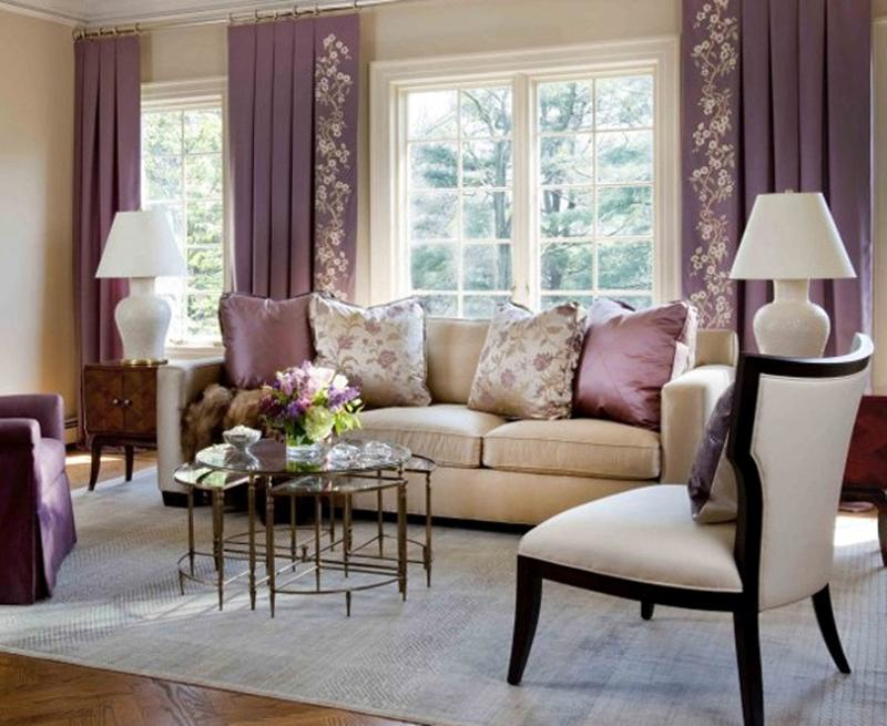 Traditional Purple Living Room