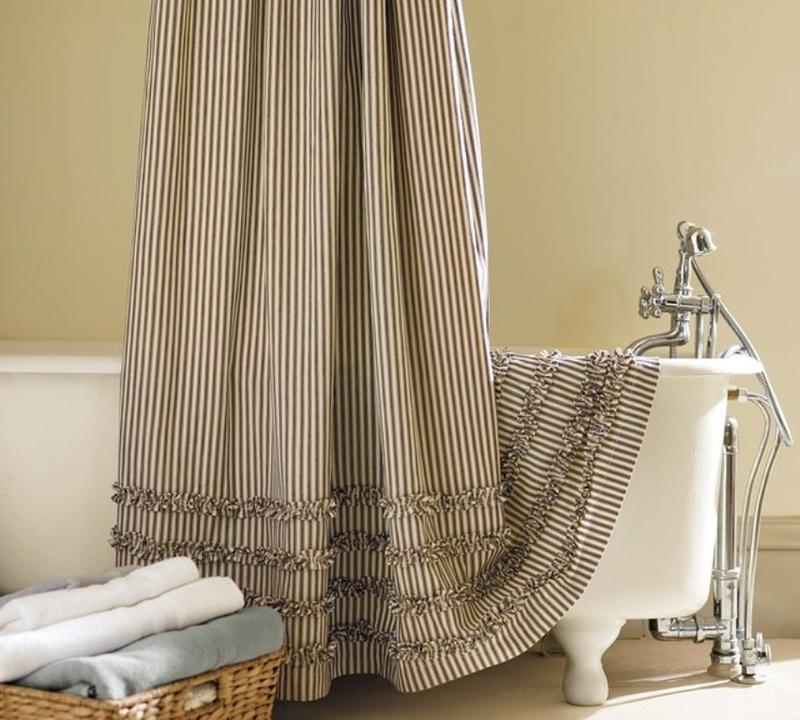 Traditional Striped Extra Long Shower Curtain