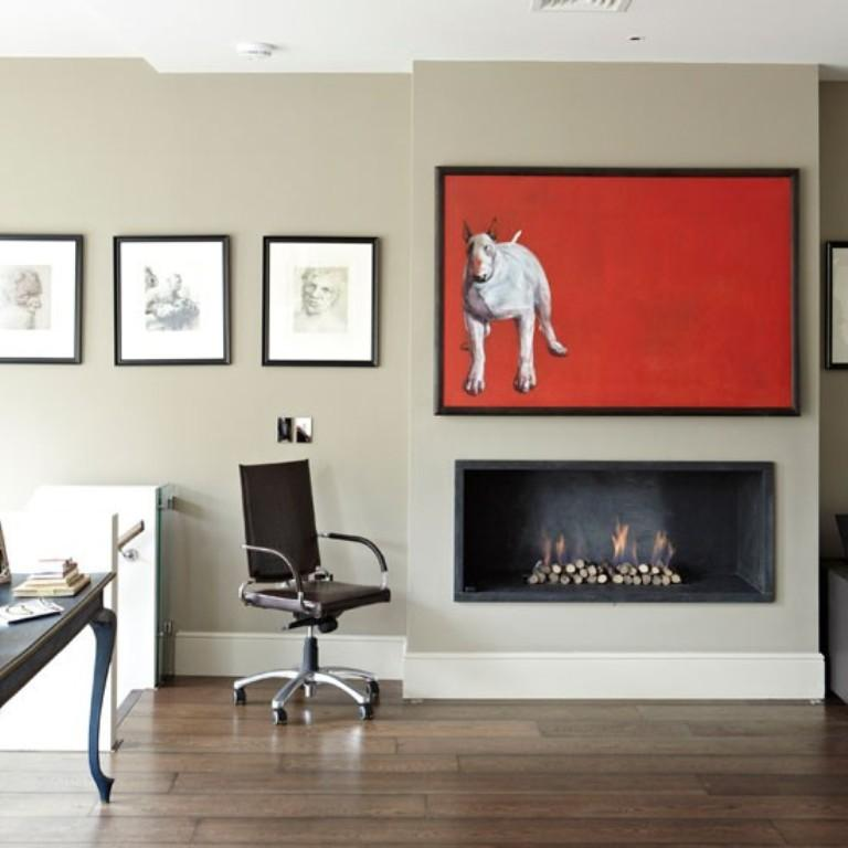 Unique Artwork Above The Fireplace