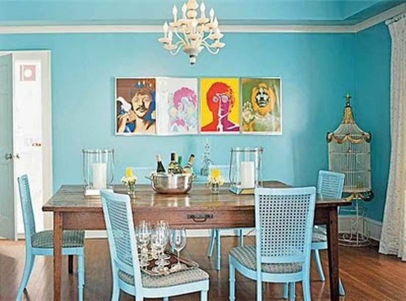 15 lively colorful dining room design ideas rilane for Funky dining room ideas