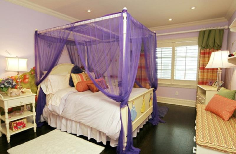Vibrant Purple Canopy Bed Curtain