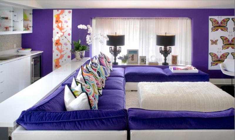 Purple Living Room transitional living room idea in london Vibrant Purple Living Room