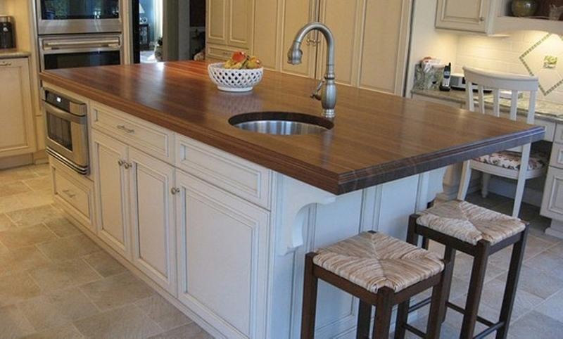 Walnut Kitchen Island with round sink