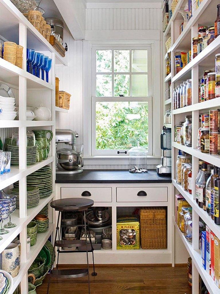 White Open Pantry Shelving