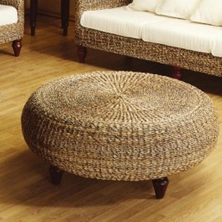 Wicker, Rattan Round Ottoman - 15 Modern Round Ottoman Designs - Rilane