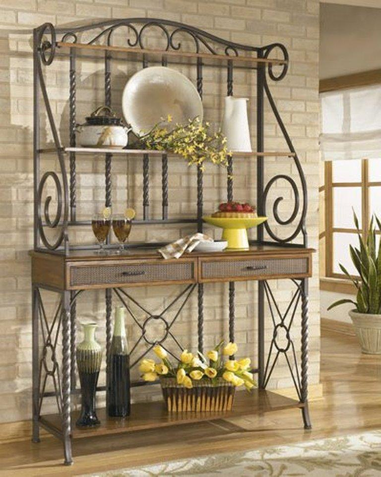 10 Useful Bakers Rack Design Ideas Rilane : wrought iron bakers rack from rilane.com size 768 x 962 jpeg 116kB