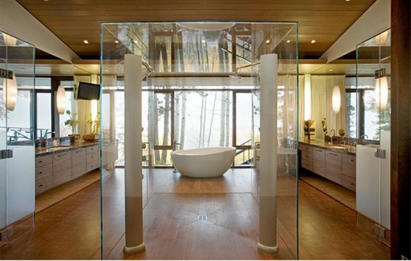 15 contemporary bathrooms with glass showers rilane for Big bathroom