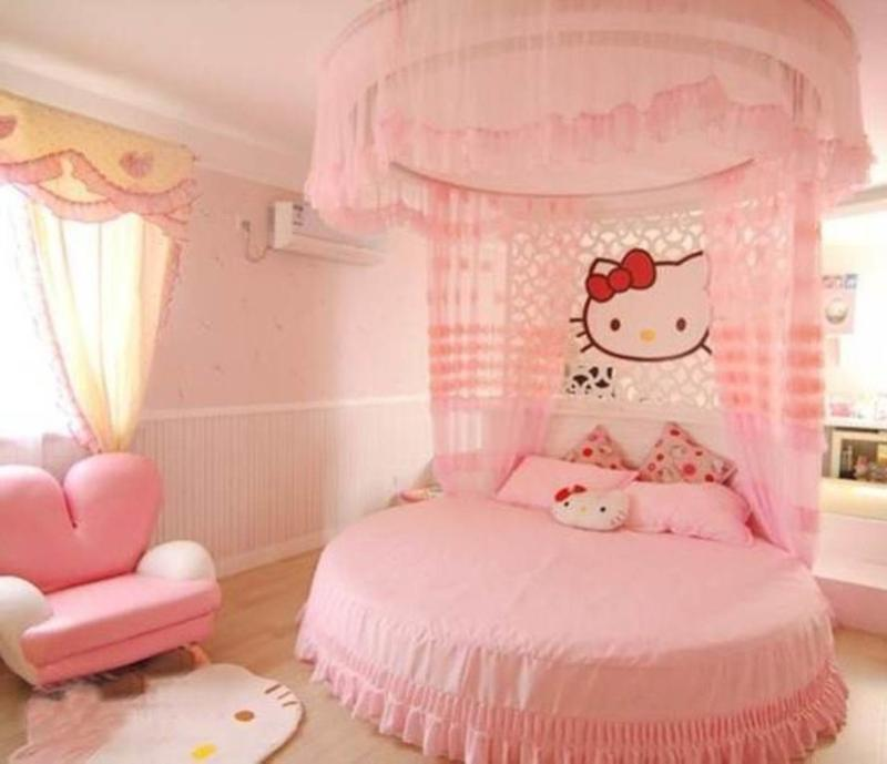 15 adorable hello kitty bedroom ideas for girls rilane - Bed for girls room ...