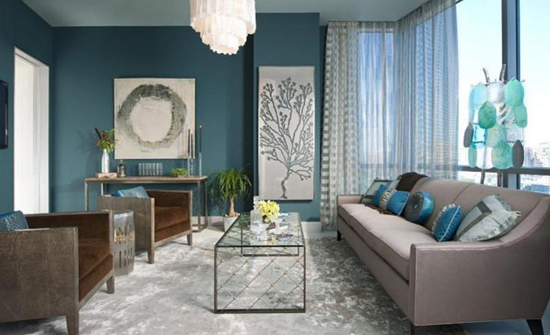 Aqua Blue Living Room