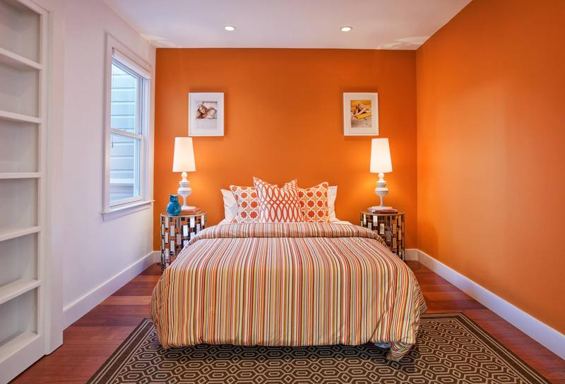 15 refreshing orange bedroom designs - rilane
