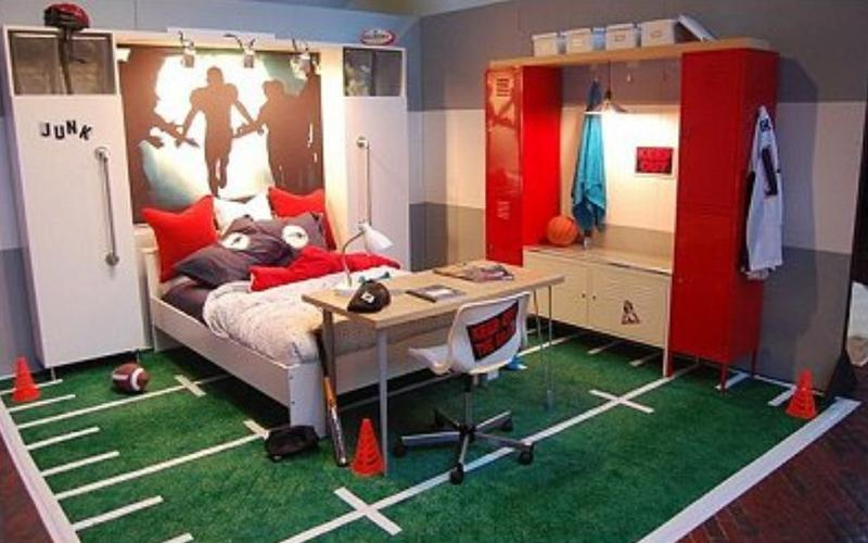 15 sports inspired bedroom ideas for boys rilane for Boys rugby bedroom ideas