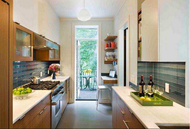 18 briliant small kitchen design ideas rilane for Narrow rectangular kitchen design