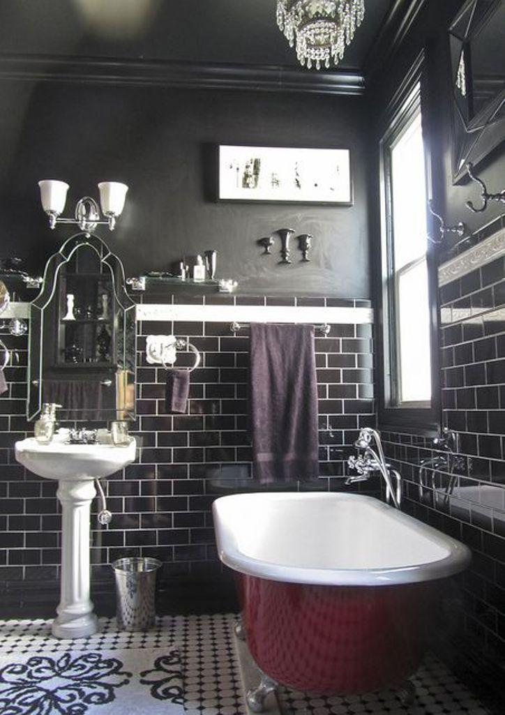 Amazing Black Bathroom With Dark Cherry Red Clawfoot Tub