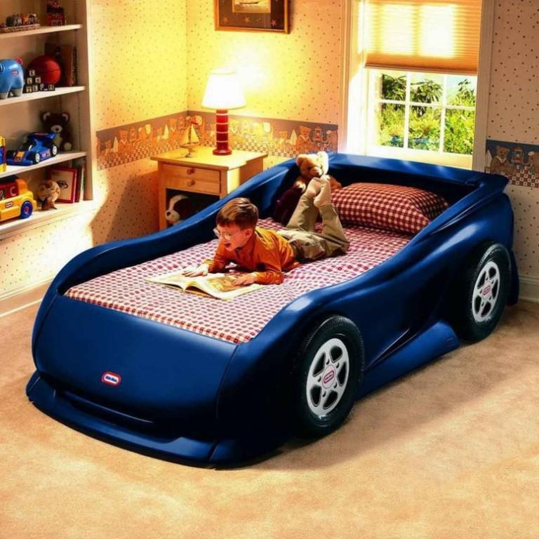 blue car inspired bed for boys