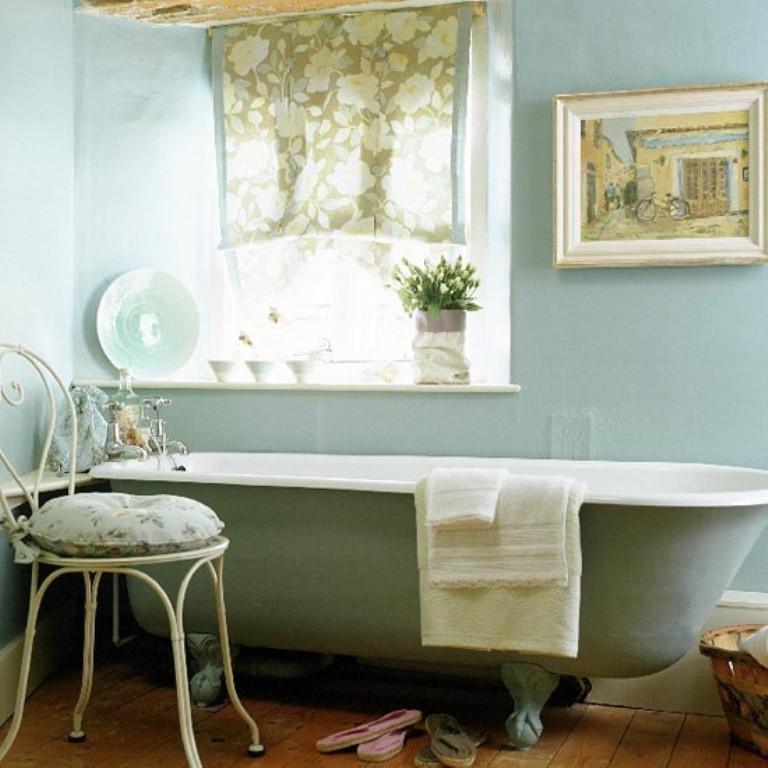 blue french country bathroom