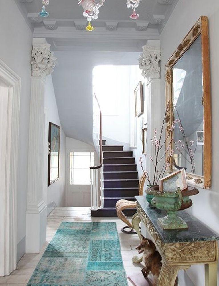 blue over dyed hallway runner rug
