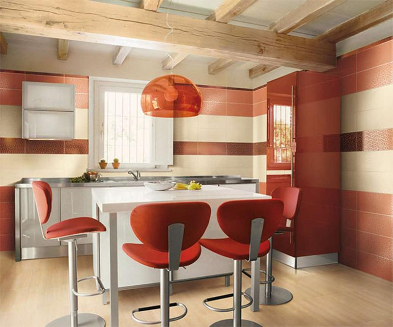 Contemporary Red Kitchen: 15 Captivating Kitchen Designs With Striped Walls