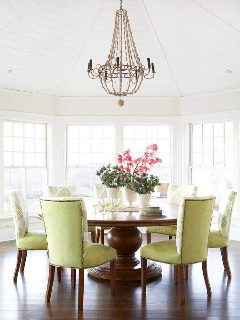 Bright Dining Room With Chic Chandelier