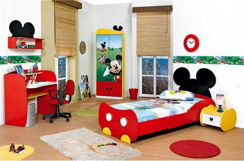 15 mickey mouse inspired bedrooms for kids rilane - Mini mouse bedroom ...