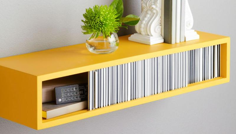 Charmant Bright Yellow Floating Shelf