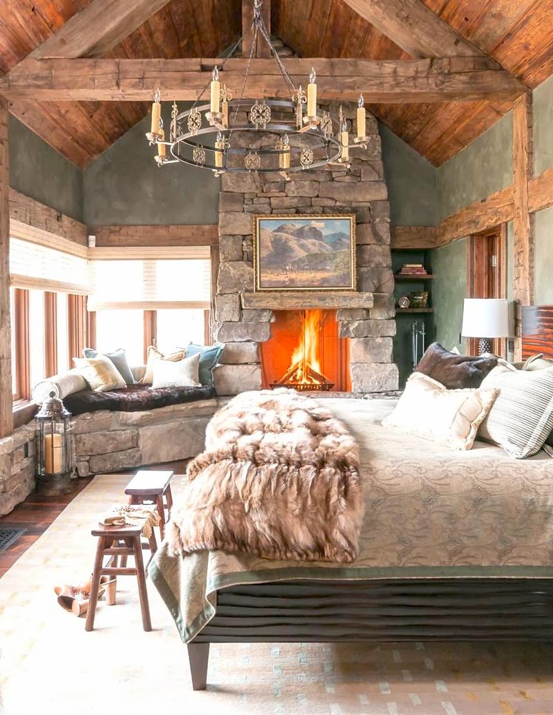Bedroom stone fireplace - Cabin Inspired Bedroom With A Stacked Stone Fireplace