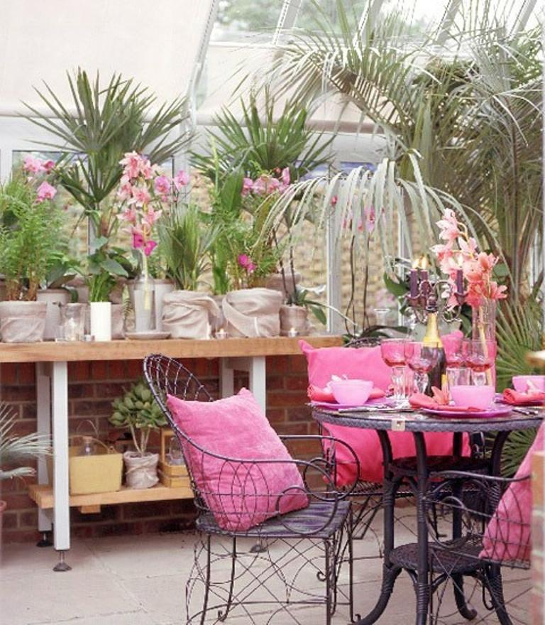 charming pink patio design