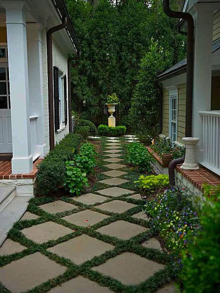 Backyard Pathway Ideas turf pathway Chess Tiles And Grass