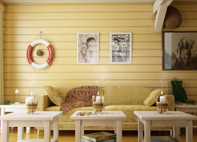 Coastal Living Room With Yellow Wood Panel Part 14