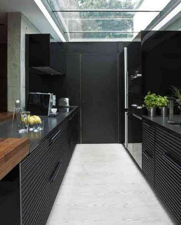 Contemporary Black Small Kitchen Design