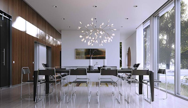 Contemporary Dining Room With Glass Walls