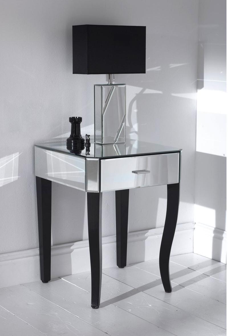 Wooden bedside table design - Contemporary Mirrored Bedside Table