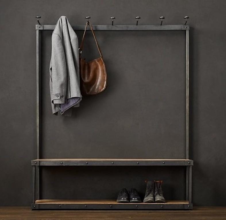 steel and wood coat rack bench - Modern Coat Rack