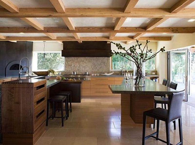 Contemporary Kitchen With Exposed Beams