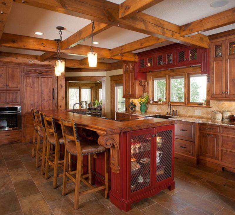 Rustic Kitchen Hutch: 15 Rustic Kitchen Designs With Exposed Roof Beams