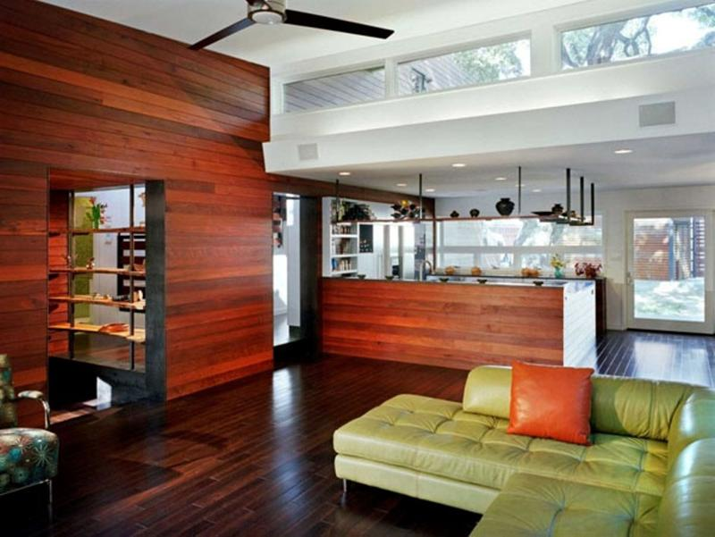 fabolous and modern living room with wood paneled walls