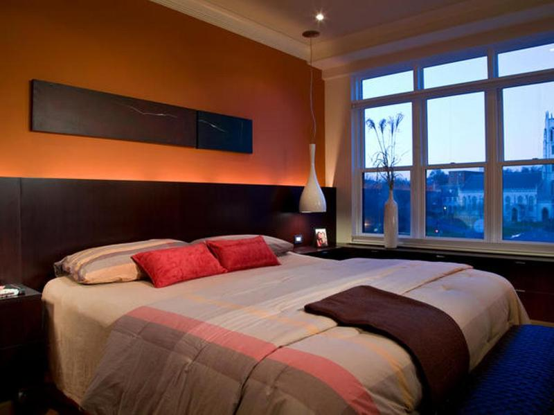 formal orange bedroom