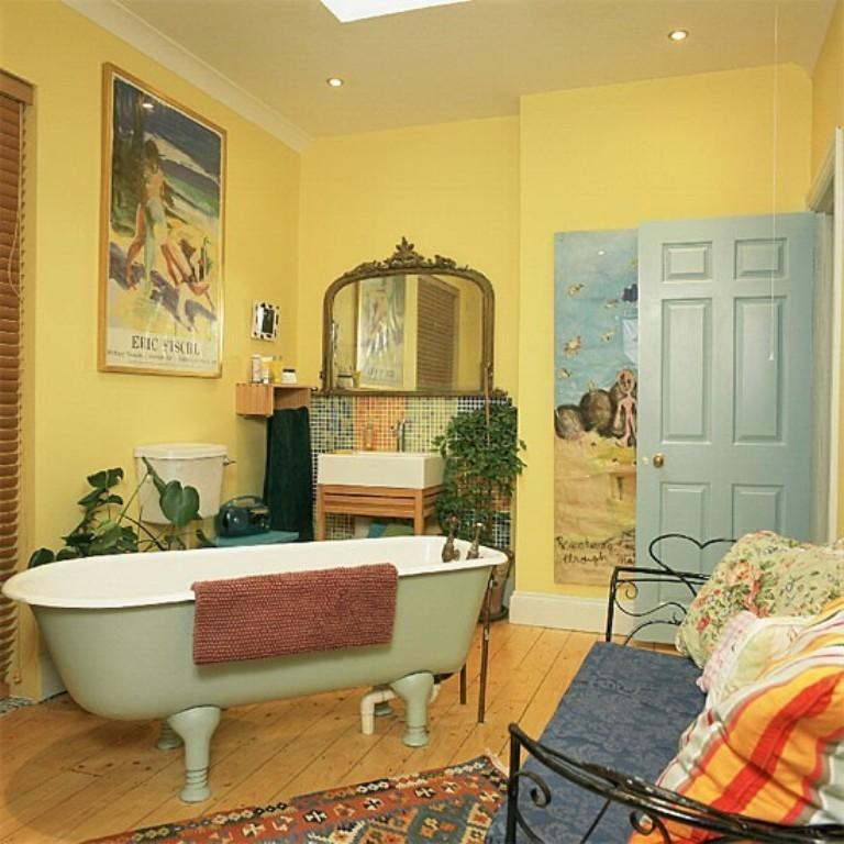 French Cottage Yellow Bathroom
