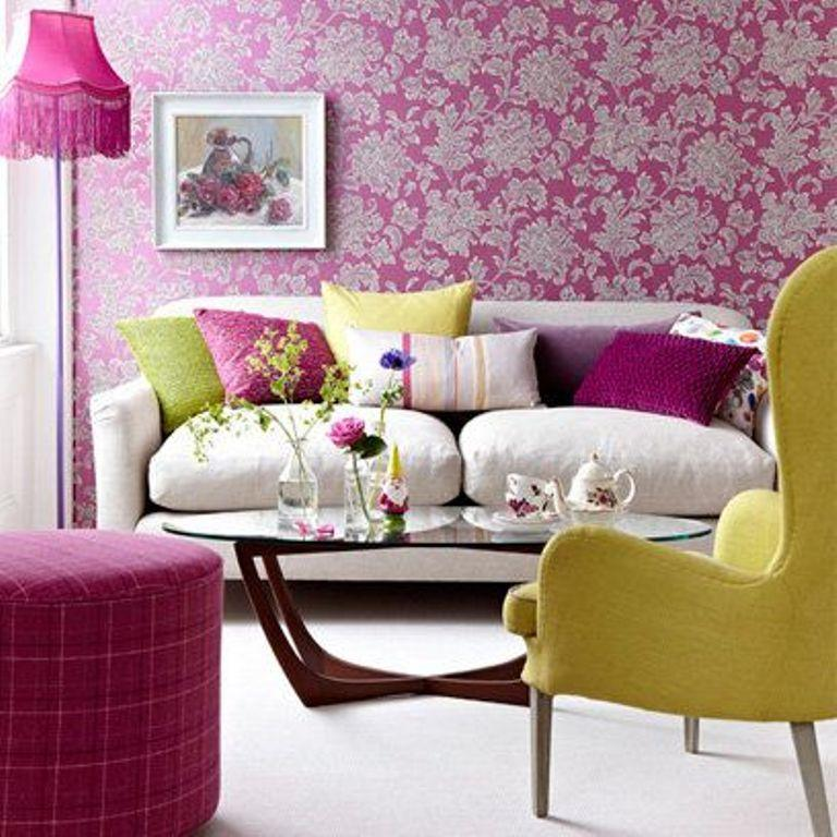 20 living rooms with beautiful floral wallpaper rilane for Pink living room wallpaper