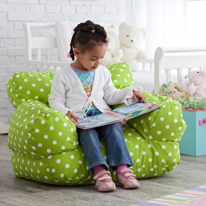 Green Polka Dotted Bean Bag Armchair