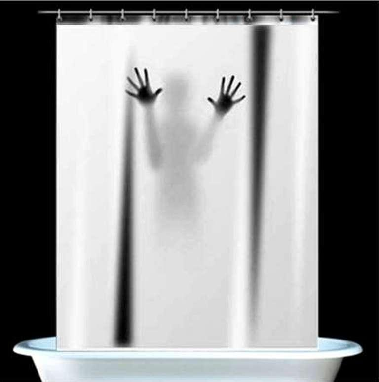 Innovative shower curtains home the honoroak for Psycho shower curtain and bath mat