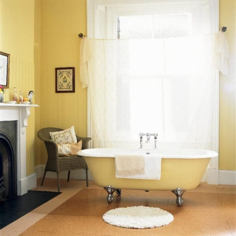 20 cozy yellow bathroom design ideas rilane. Black Bedroom Furniture Sets. Home Design Ideas