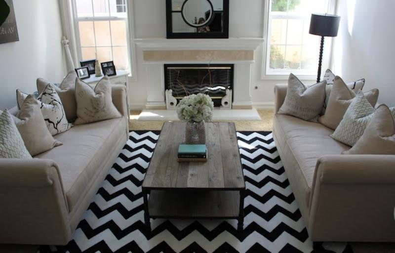 Modern Black Chevron Rug