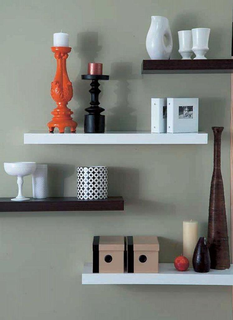 15 modern floating shelves design ideas rilane for Decoration shelf