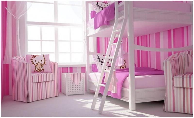 Hello kitty furniture for teenagers Decoration Modern Hello Kitty Twins Bedroom Rilane 15 Adorable Hello Kitty Bedroom Ideas For Girls Rilane