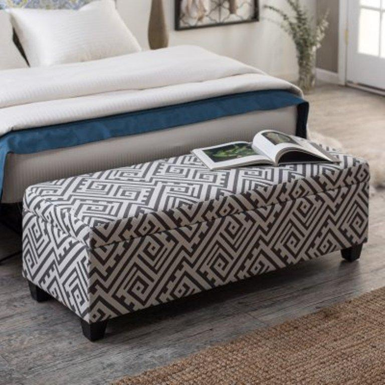 Modern Print Storage ottoman bench - 10 Beautiful Storage Ottoman Bench Ideas For The Bedroom - Rilane