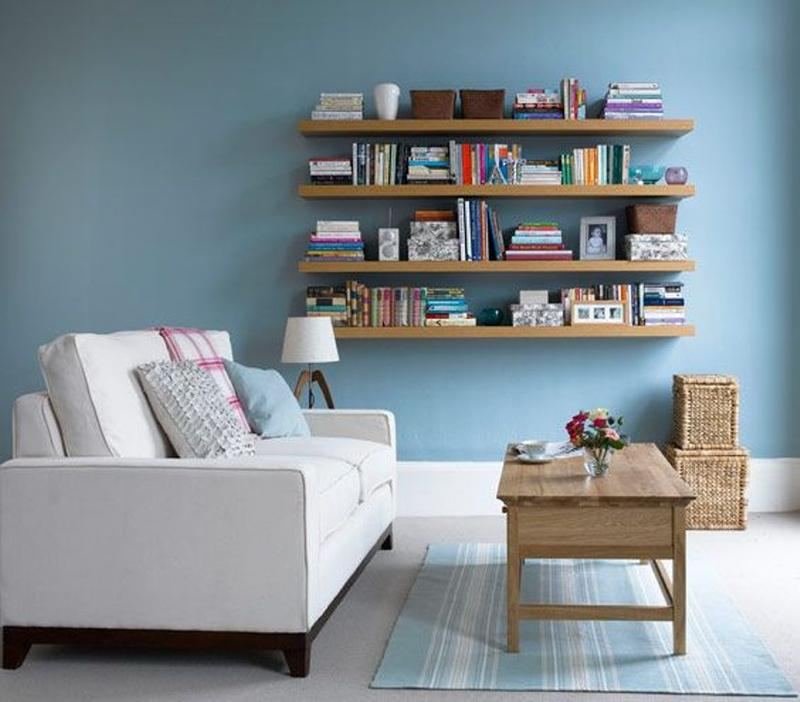 natural wood floating shelves - Floating Shelves In Living Room