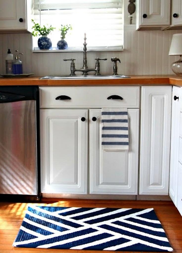 Attrayant Navy Blue Kitchen Area Rug