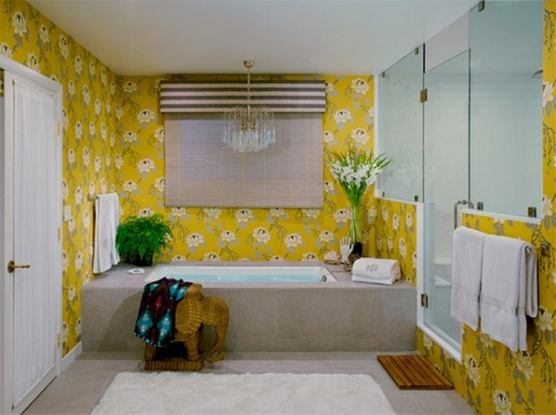 20 Cozy Yellow Bathroom Design Ideas - Rilane