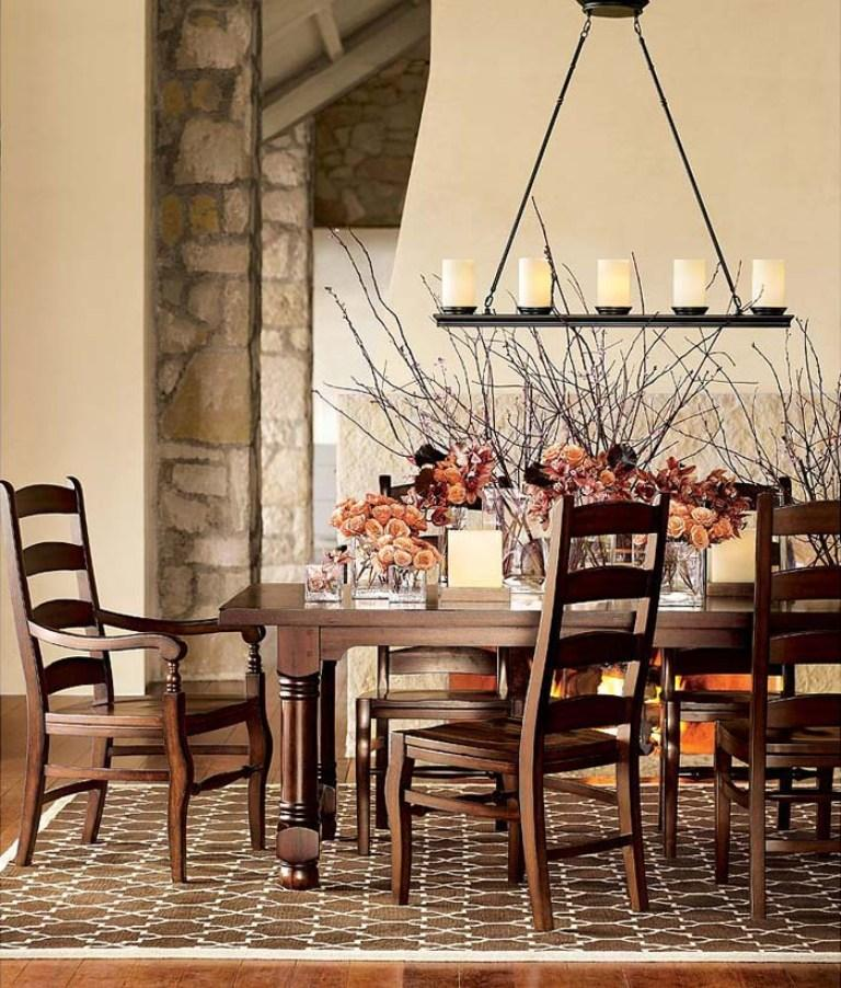 Rustic Chandelier Dining Room Table Set